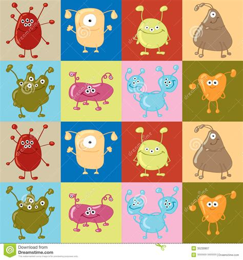 pattern character in c seamless vector pattern with bacteria royalty free stock