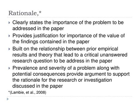 rationale of the study research paper ppt apa style and scholarly writing powerpoint