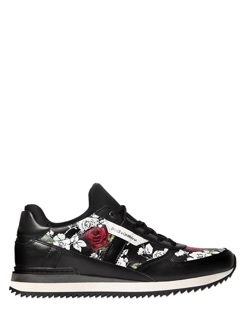 dolce gabbana sneakers dolce gabbana women s roses printed leather sneakers