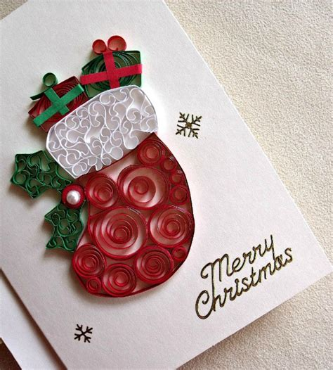 handmade paper quilled card merry