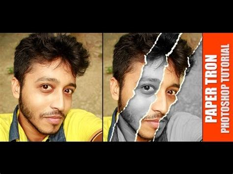 photoshop tutorial newspaper effect how to make ripped or torn paper effect from face in