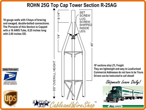 rohn 25g tower sections rohn 25ag 9 foot top cap tower section with 2 inch o d