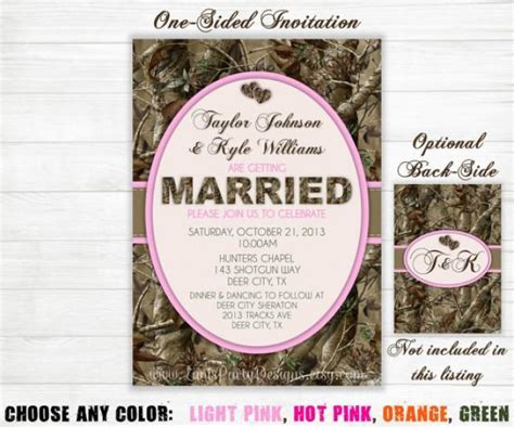 camo wedding invitation hunting camouflage orange pink