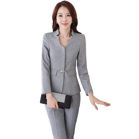 Fashion Wanita Pakaian Dress Denim autumn work wear pant suit slim fashion formal black grey sleeve blazer with