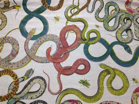 printed upholstery fabric snakes vintage style reptile illustration art hand screen