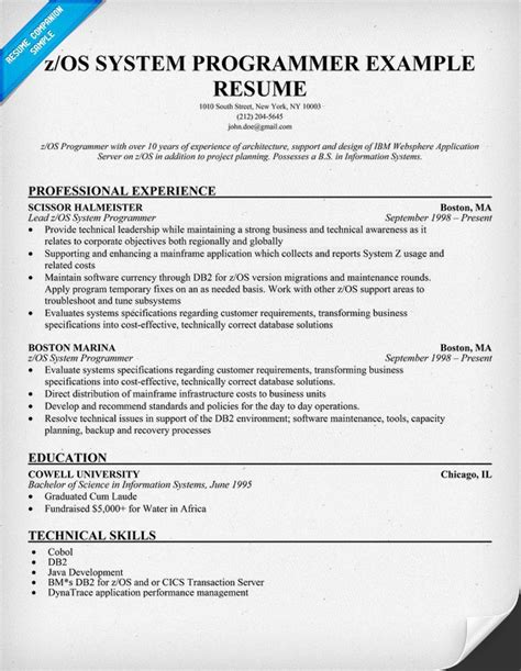 Z Os Resume by Pin By Resume Companion On Resume Sles Across All