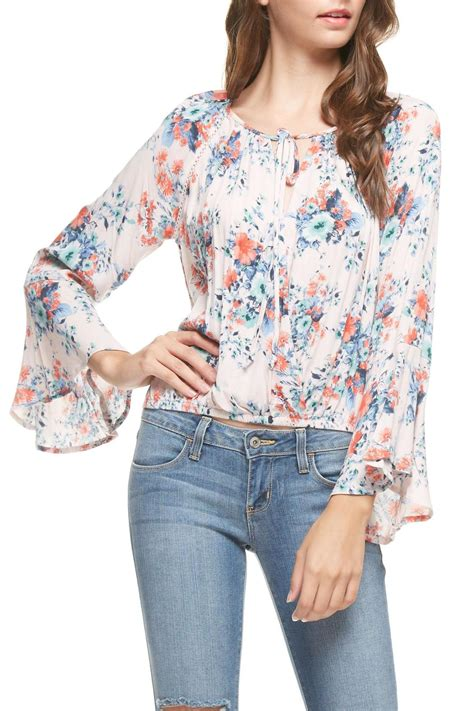 Bell Sleeve Floral Top lush floral bell sleeve top from alaska by apricot