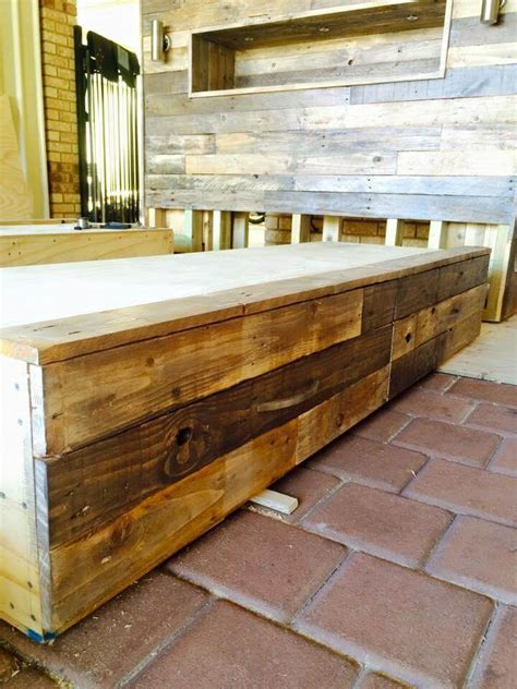 pallet bed frame with lights diy pallet bed with headboard and lights