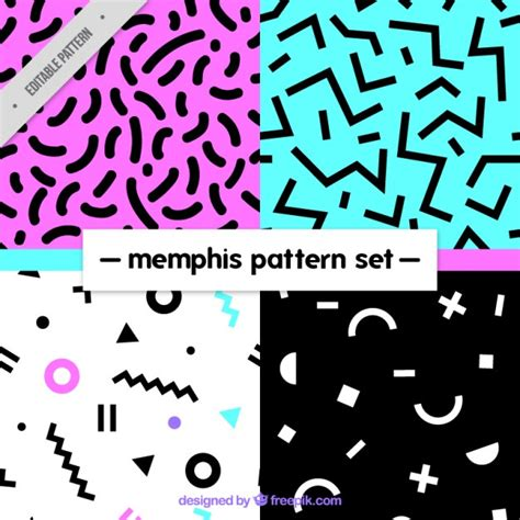 memphis pattern ai variety of abstract patterns vector free download