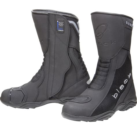 black motorbike boots black oxygen elite waterproof breathable touring