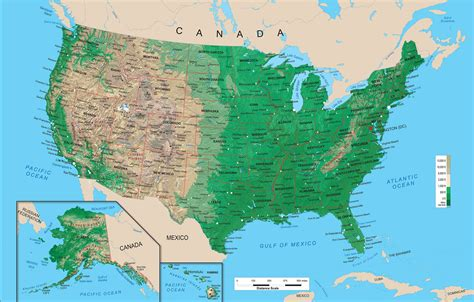 physical map of usa with states united states physical map wall mural from academia