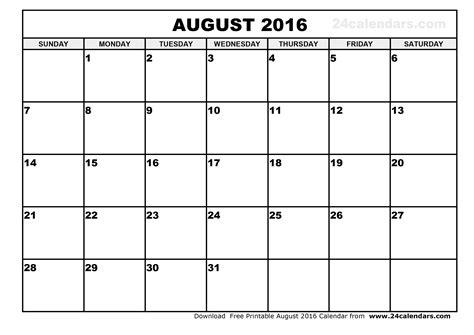Calendar August 2016 August 2016 Calendar Printable