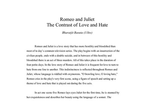 romeo and juliet themes love vs hate love and hate essay on romeo and juliet