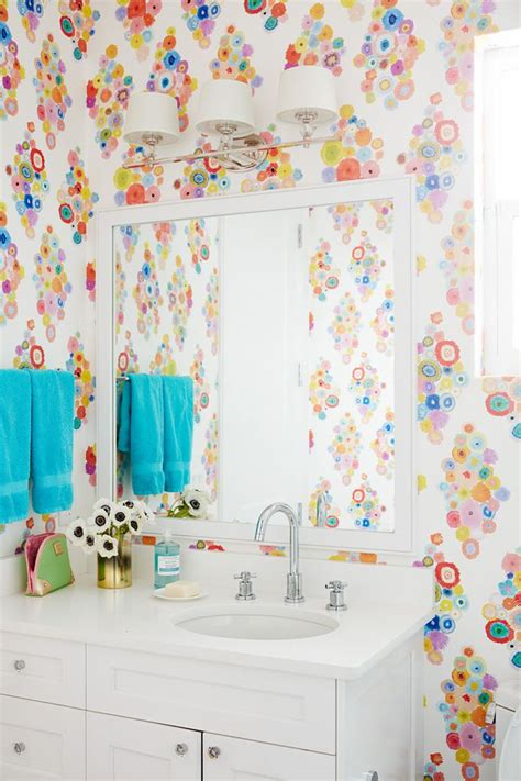 Bathroom Wallpaper Turquoise 17 Best Images About Wallpapered Bathroom On