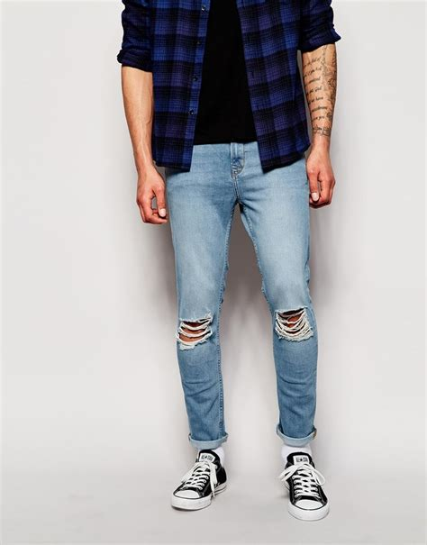 hoxton denim skinny ripped jeans in light blue wash