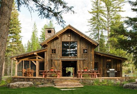 rustic barn homes exterior farmhouse with gravel patio