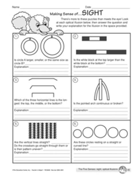 printable optical illusions lesson plans results for five senses guest the mailbox