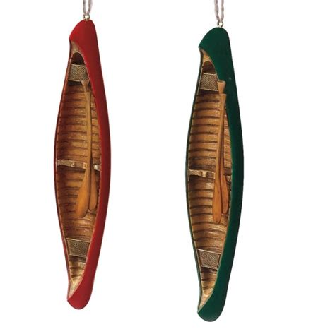 canoe christmas ornament set of 2