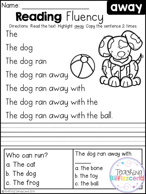 activities for kindergarten reading free kindergarten reading fluency and comprehension set 1