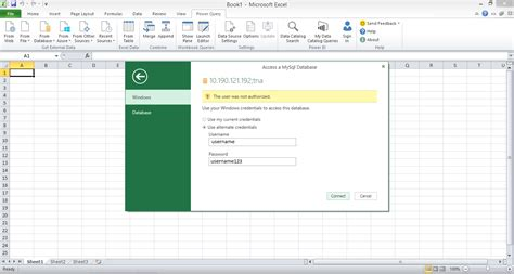 unrecognized database format excel query mysql connect server database from client pc using power