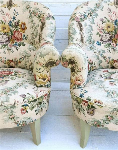 country cottage armchairs pair of french fauteuil armchairs country cottage chintz