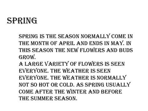 what is a spring seasons in pakistan