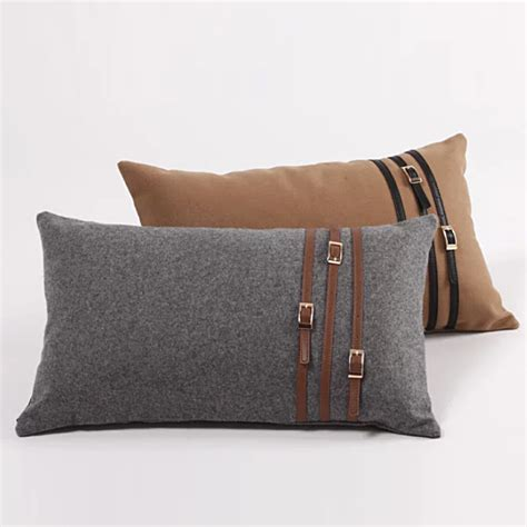 bed pillow covers england style woolen leather stripe decorative bed kidney