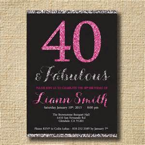 40th birthday glitter invitation women forty and fabulous