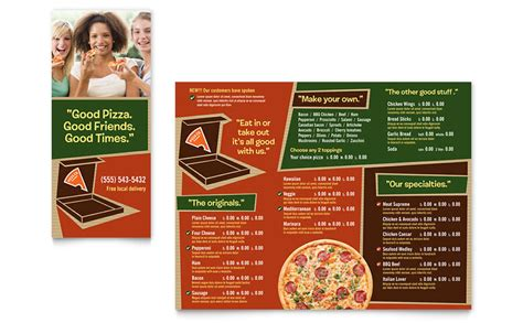 pizza pizzeria restaurant take out brochure template