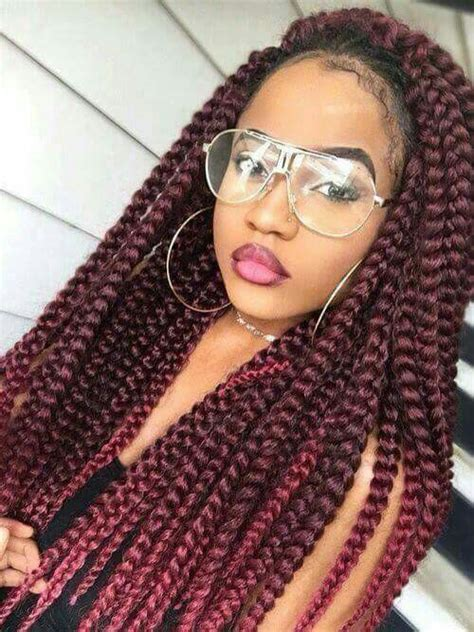 red cornrow braided hair jumbo red box braids braids twists and more pinterest