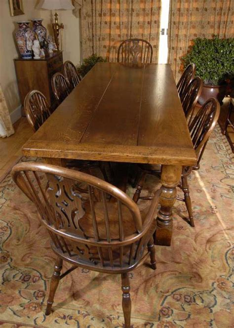 english oak refectory table  windsor chair dining set