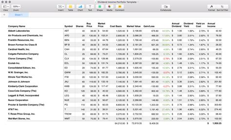 Dividend Spreadsheet Templates by Dividend Income Portfolio Template For Apple Numbers