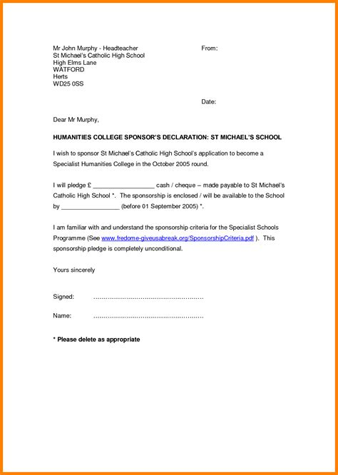 Financial Declaration Letter 11 declaration letter sles sales resumed
