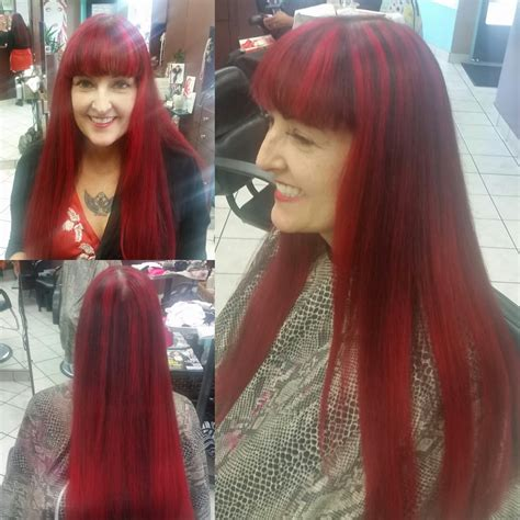 ambre hair on a nlone 1 2 crown red highlights bayalage low lights of dark