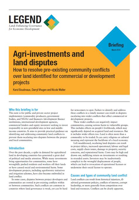 Spike Are Involved In Property Dispute by Briefing Agri Investments And Land Disputes Land Portal