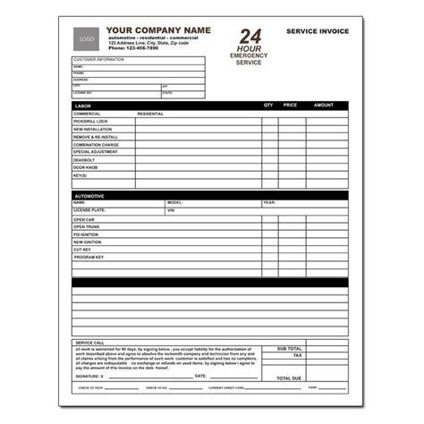 locksmith business invoice locksmith invoice form work order designsnprint