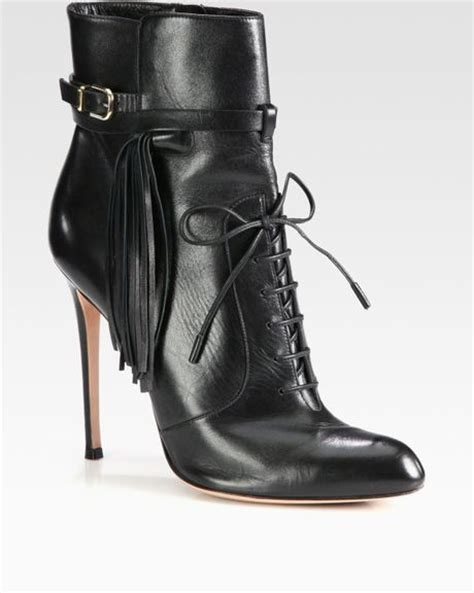 altuzarra leather fringe lace up ankle boots in black lyst