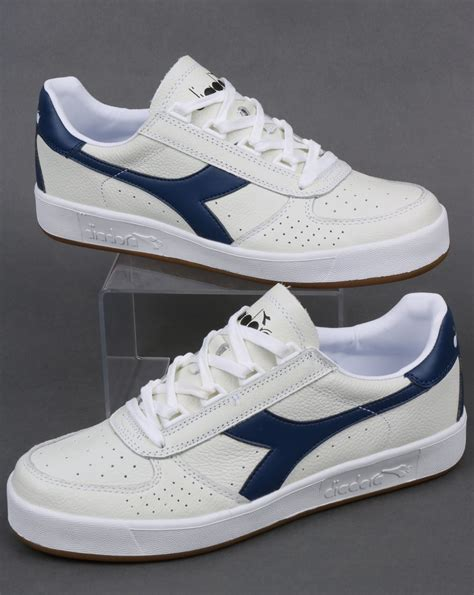 navy and white l diadora borg elite l trainers white navy leather borg shoes