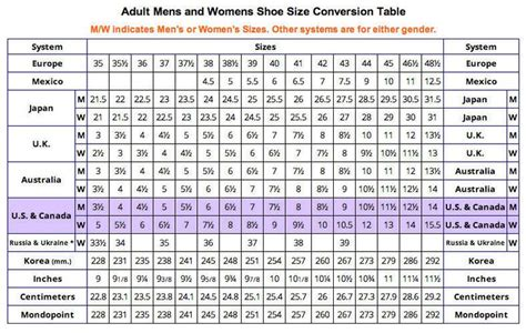 shoe size chart ee 17 best images about clothing sizes on pinterest woman