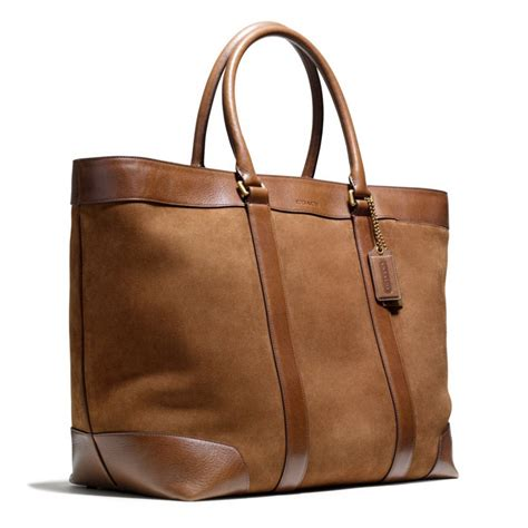 Coach Htons Weekend Patchwork Tote by Lyst Coach Bleecker Weekend Tote In Suede In Brown For