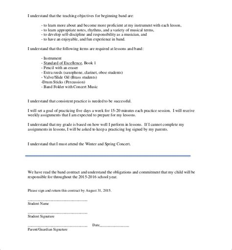 band contract template 14 sles exles format