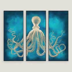 wall paintings octopus sea life wall art 3 piece world market