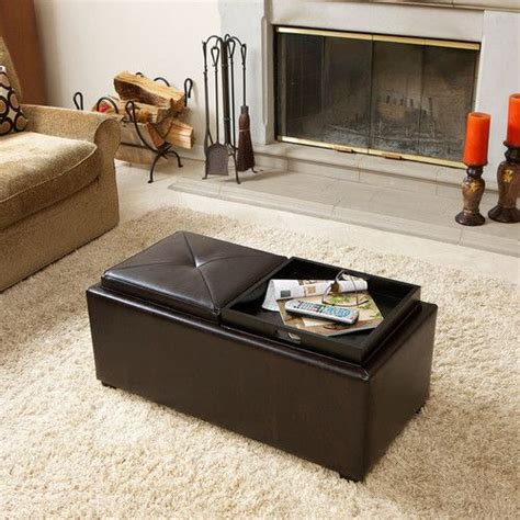 coffee table tray ottoman 2 tray top brown leather storage ottoman coffee table