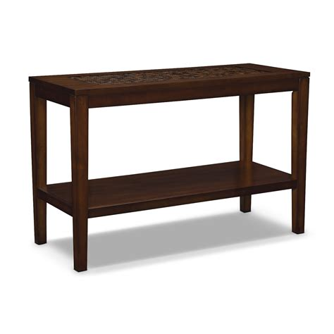 sofas tables and more carson sofa table brown value city furniture
