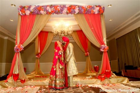 Indian wedding ceremony fabric mandap floral decor