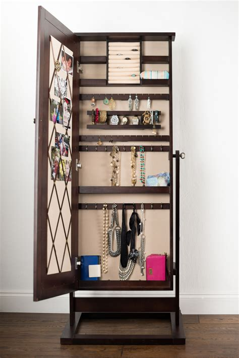 Mirror Front Jewelry Armoire by Mirrored Jewelry Armoire Caymancode