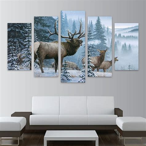 elk home decor 5 panels canvas prints elk family in snow pine tree canvas