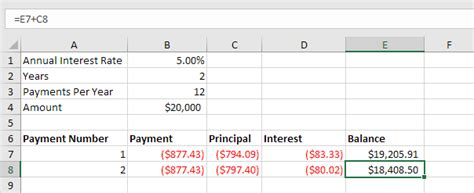 formula for mortgage amortization loan amortization schedule in excel easy excel tutorial