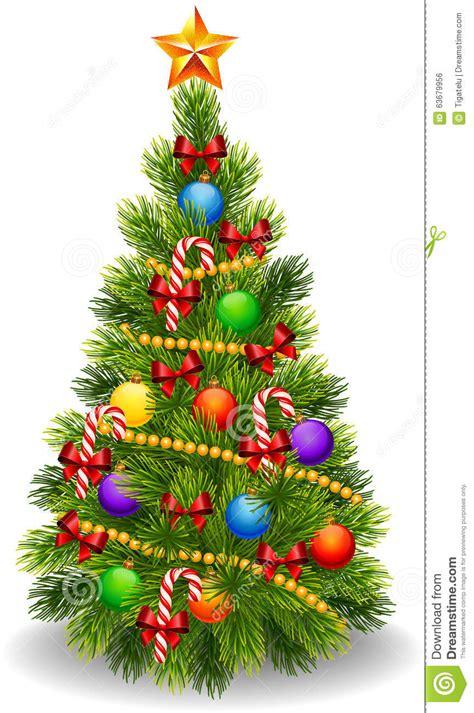 cartoon illustration  decorated christmas tree isolated