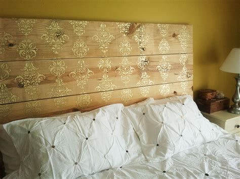 Wood Plank Headboard Color Me Home By Repcolite Easy Diy Stenciled Headboards